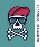 cool skull in sunglasses and a... | Shutterstock .eps vector #604831778