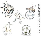 set of football symbols vector... | Shutterstock .eps vector #604833593