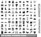 100 global warming icons set in ... | Shutterstock . vector #604833728