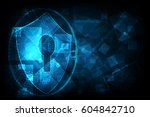 cyber security concept  shield... | Shutterstock .eps vector #604842710