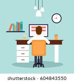 man working on desktop computer.... | Shutterstock .eps vector #604843550