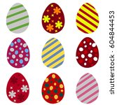 set of colorful easter eggs.... | Shutterstock . vector #604844453