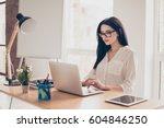 portrait of beautiful smiling... | Shutterstock . vector #604846250