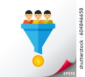 sales conversion funnel icon | Shutterstock .eps vector #604846658