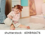 cute happy 2 years old baby... | Shutterstock . vector #604846676