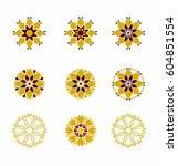 flowers ornament icon vector set | Shutterstock .eps vector #604851554