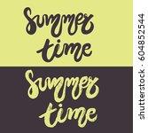 set of hand drawn lettering  ... | Shutterstock .eps vector #604852544