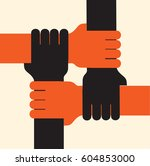 four hands together team work.... | Shutterstock .eps vector #604853000