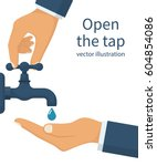 hand open for drinking tap... | Shutterstock .eps vector #604854086