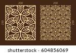 laser cutting set. woodcut... | Shutterstock .eps vector #604856069