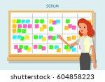 cartoon scrum master. business... | Shutterstock .eps vector #604858223