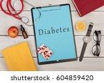 medecine concept   clipboard... | Shutterstock . vector #604859420