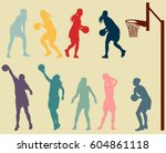 basketball woman player in... | Shutterstock .eps vector #604861118
