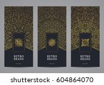 luxury retro label set. vector... | Shutterstock .eps vector #604864070