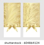 gift card with golden ribbon... | Shutterstock .eps vector #604864124