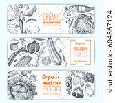 healthy food horizontal banner... | Shutterstock .eps vector #604867124
