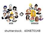 men and women group people... | Shutterstock .eps vector #604870148