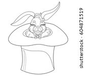 coloring page rabbit. hand... | Shutterstock .eps vector #604871519