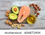 selection of healthy fat... | Shutterstock . vector #604872404