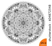 black and white. mandala.... | Shutterstock .eps vector #604872548