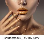 fashion art golden skin woman... | Shutterstock . vector #604874399