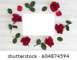 blank card with flowers roses... | Shutterstock . vector #604874594