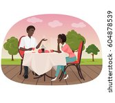 an african couple sitting in... | Shutterstock .eps vector #604878539