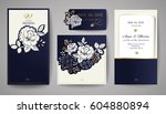 set of wedding floral... | Shutterstock .eps vector #604880894