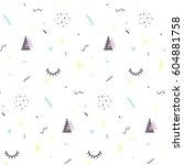 memphis seamless pattern 80's... | Shutterstock .eps vector #604881758