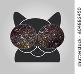 cat in glasses sees a space.... | Shutterstock .eps vector #604883450
