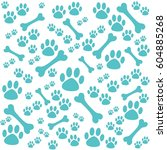 background with dog paw print... | Shutterstock .eps vector #604885268