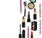 hand drawn make up products on... | Shutterstock .eps vector #604885454