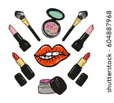 hand drawn make up product... | Shutterstock .eps vector #604887968