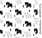 bear pattern illustration... | Shutterstock .eps vector #604892276