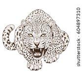 leopard face tattoo  vector... | Shutterstock .eps vector #604897310