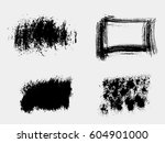 set of black paint  ink brush... | Shutterstock .eps vector #604901000