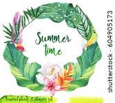 summer hand drawn watercolor... | Shutterstock . vector #604905173