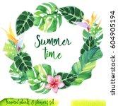 summer hand drawn watercolor...   Shutterstock . vector #604905194