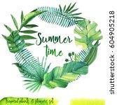 summer hand drawn watercolor... | Shutterstock . vector #604905218