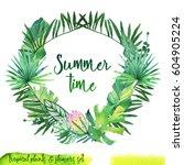 summer hand drawn watercolor... | Shutterstock . vector #604905224