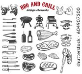 bbq and grill design elements... | Shutterstock .eps vector #604907300