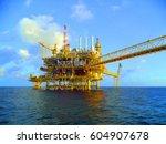 offshore construction platform... | Shutterstock . vector #604907678