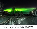 snowy mountains and northern... | Shutterstock . vector #604910078