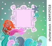 frame with mermaid and place... | Shutterstock . vector #604919318