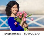 beautiful happy woman with...   Shutterstock . vector #604920170