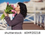 beautiful happy woman with...   Shutterstock . vector #604920218