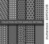set of ten subtle seamless... | Shutterstock .eps vector #604924148