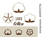 set of cotton icons. emblems... | Shutterstock .eps vector #604925756