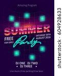 dj party vector flyer template. ... | Shutterstock .eps vector #604928633