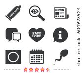 safe sex love icons. condom and ...   Shutterstock .eps vector #604928924